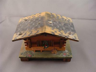Vintage SWISS CHALET House w MUSIC BOX Window Bench Flowers Logs for the Fire