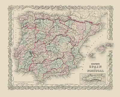 Old Iberian Peninsula Map - Spain and Portugal - Colton 1886 - 23 x 28.37