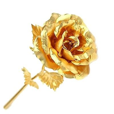 "Genuine 24K Gold Dipped Rose 10"" Long Stem Flower Home Decor Free Gift Box"