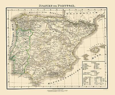Old Iberian Peninsula Map - Spain and Portugal - Flemming 1855 - 23 x 27.70