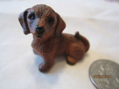 """COLLETIBLE MINIATURE 2"""" DACHSHUND PUPPY FIGURINE~VERY HIGHLY DETAILED Japan"""