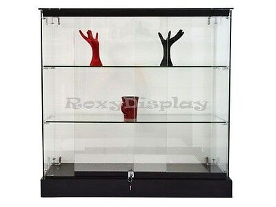 Glass Display With Black Base Store Fixture Knocked Down #GS36B