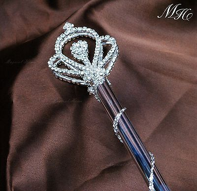 Royal Crown Rhinestone Pageant Bridal Magic Fairy Queen Double Side Scepter Wand