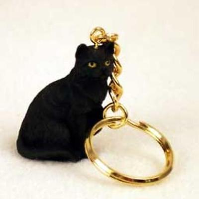 CTK49 CON Black Shorthaired Tabby Cat Key Chain