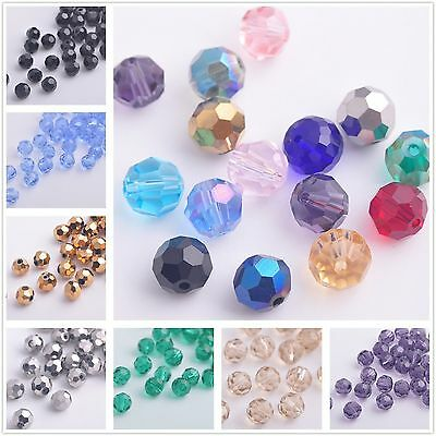 Wholesale 50x Round Faceted Crystal Glass Jewelry Findings Loose Beads 6mm Lots