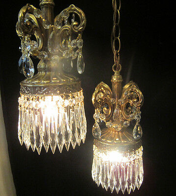 2lite Vintage ROCOCO double swag ceiling lamp chandelier spelter brass plated