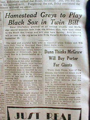 1928 newspaper NEGRO BASEBALL Oscar Charleston BALTIMORE BLACK SOX v HOMESTEAD G