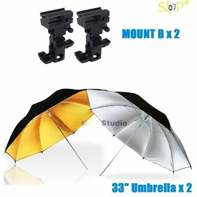 Photography Studio Reflective Umbrellas Flash Lighting Stand Speedlite Bracket B