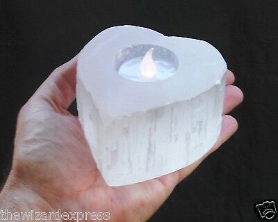 Selenite Heart Tealight Candle Base in Beautiful Natural Rough White (new)