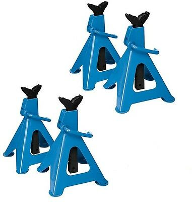 4x HEAVY DUTY SILVERLINE 3 TON TONNE RATCHET ACTION AXLE STAND STANDS WARRANTY