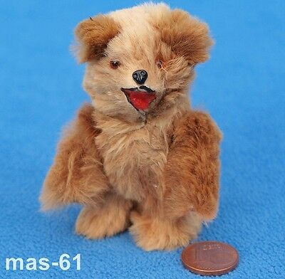 Alter Teddy Bär Hartkörper 7 Cm Minatur Puppenhaus Made In W-Germany Anima