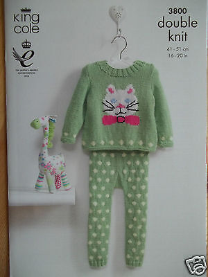 """Baby Cat Sweater & Legging Knitting Pattern For 16 - 20""""chest Dk King Cole 3800"""