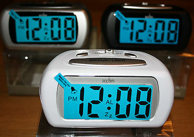 ACCTIM AURIC BATTERY ALARM CLOCK WITH LCD DISPLAY /BLUE BACKLIGHT and SNOOZE