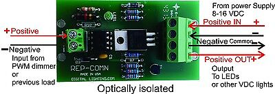 Negative to Positive common repeater for PWM led dimmer:10 Amp @ 8 to 16 V DC