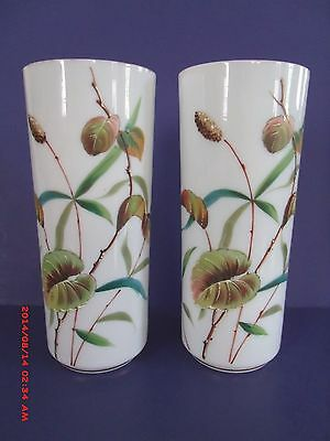 """Pair Of 8 3/4"""" Victorian Hand Painted Aesthetic Opal Ware Art Glass Vases"""