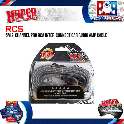 Hyper Connections 5M 2-Channel Pro Rca Interconnect Car Audio Amp Cable 5 Meter