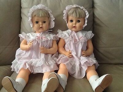 """Vintage Twin Dolls ~ Play Pal Size 1964 ~ 27"""" Tall ~ Great Condition ~ Unique"""