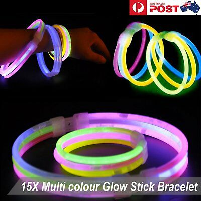 15X Multi colour Glow Stick Bracelet Connector Glowstick Glow in the Dark Party