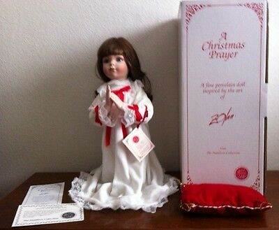 """Porcelain Doll """"A Christmas Prayer"""" in original box with pillow (and papers)"""