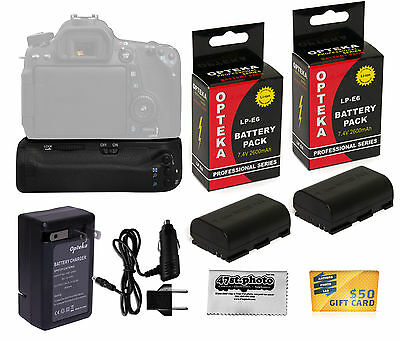Opteka Vertical Power Battery Grip + 2 Pc LP-E6 Pack + Charger for Canon EOS 70D