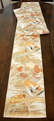 """Japanese Obi Mid-Late 20th Cent. Machine Woven 155""""x12.5"""" Design on both sides"""