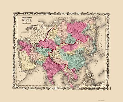 Old Asia Map - Johnson 1860 - 23 x 27.69