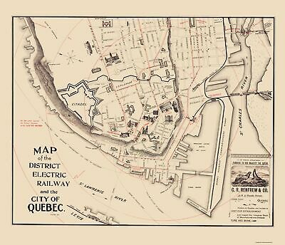 Old Canada Map - Quebec City, District Electric Rail - 1896 - 23 x 26.71