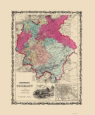Old Germany Map - Johnson 1860 - 23 x 27.69