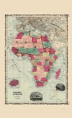 Old Africa Map - Johnson 1860 - 23 x 37.18