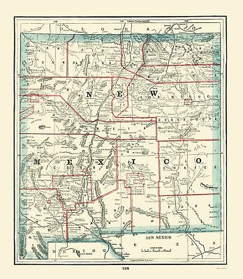 Old State Map - New Mexico - Rathbun 1893 - 23 x 26.44