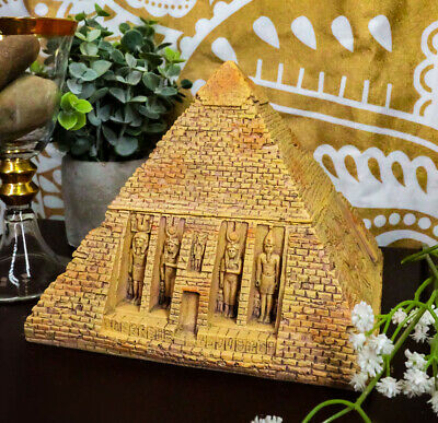"Egyptian Sandstone Pyramid Box Collectible Egypt Pyramid Of Khufu Container 7""L"