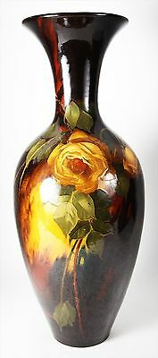 LARGE ANTIQUE WELLER AURELIAN  POTTERY VASE WITH ROSES CIRCA 1902 MUSEUM QUALITY