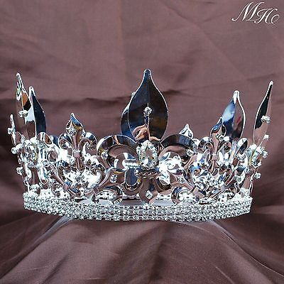 """Men's King Tiara Full Round Crown 4.25"""" Imperial Medieval Pageant Party Art Deco"""