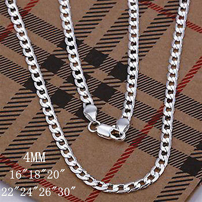 "Wholesale 4Mm Solid 925Sterling Silver Jewelry Chains 16""-30"" Necklace Xmas Gift"