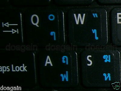 High Quality THAI Kedmanee TRANSPARENT Keyboard Stickers BLUE Letters