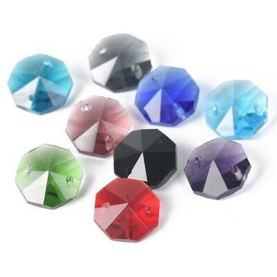 Hot 10/20pcs 14mm Octagon Faceted Loose Spacer Glass Beads Jewelry Making