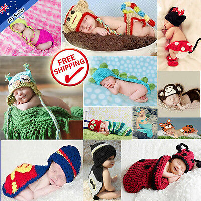 Baby Costume Hat Beanie Boy Girl Animal Outfit Photo Props Set Infant Knit