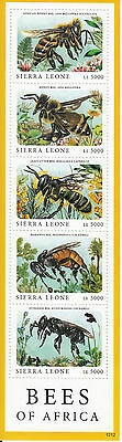 Sierra Leone 2010 MNH Bees of Africa 5v M/S Honey Bee Leafcutter Insects Stamps