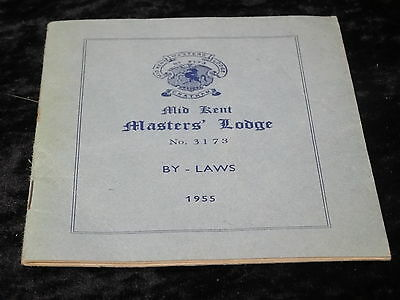 Booklet - Mid Kent masters lodge No 3173 By-laws - 1955