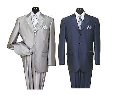 Men's High Quality 2 piece 3 Button Elegance Wool Feel Suits 4 Colors 38R~56L