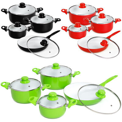 8 piece ceramic cooking pots lids pan pot saucepan cookware set