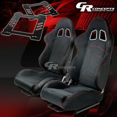 Reclining Type-1 Racing Seat Black Suede X2+Bracket/mount For 92-99 Bmw E36 2-Dr