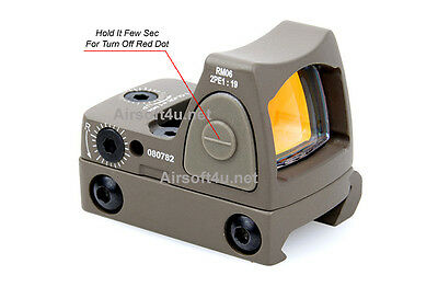 Tactical Airsoft Mini Micro RMR Style Red Dot Sight TAN DE w/ Side ON/OFF switch