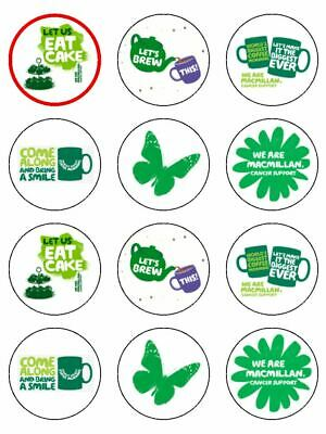 "12 x Macmillan Coffee Morning Mix 2"" PRE CUT Edible Rice Paper Cup Cake Toppers"