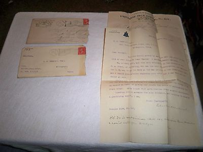 2 ANTIQUE DATED 1899 ERIE PA I.O.O.F. ODD FELLOWS LETTERS & COVERS ENVELOPES LOT