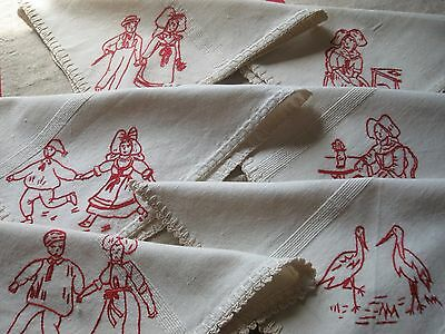 6 Antique French NAPKINS - Redwork Embroidery - Hand Crochet Lace - Alsace