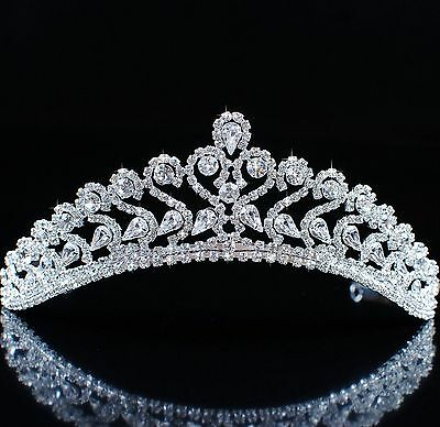 Princess Tiaras Diadem Wedding Bridal Crowns Clear Rhinestones Crystal Headband