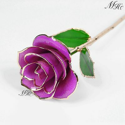 """New 11"""" Violet Real Rose Dipped in 24k Gold New In Free Gift Box Home Decoration"""
