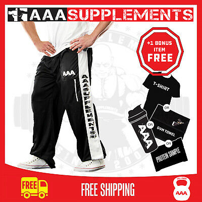 Gym Workout Pants Black And Blue Bodybuilding Tracksuit All Sizes