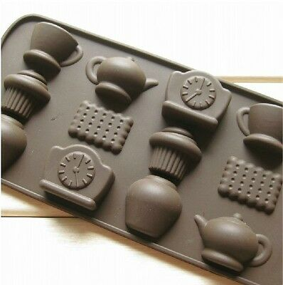 Clock Tea Cup Silicone Chocolate Ice Candy Decorating Mold Kitchen Cooking Tools